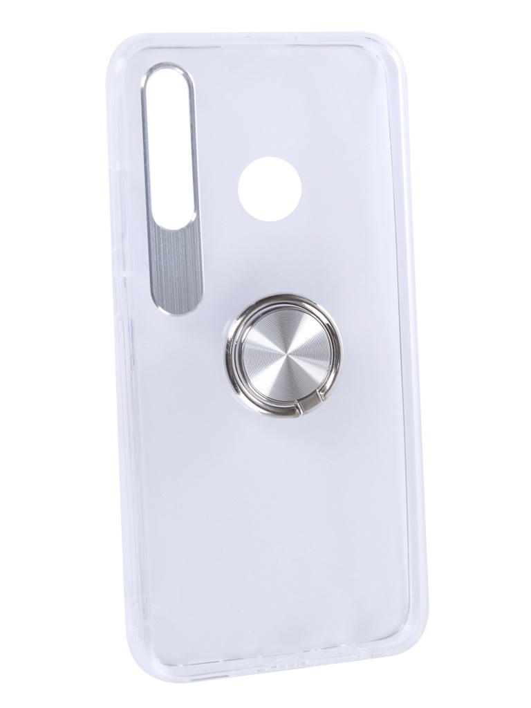 Чехол DF для Honor 10i Plastic + Silicone с кольцом-держателем Silver hwTRing-02
