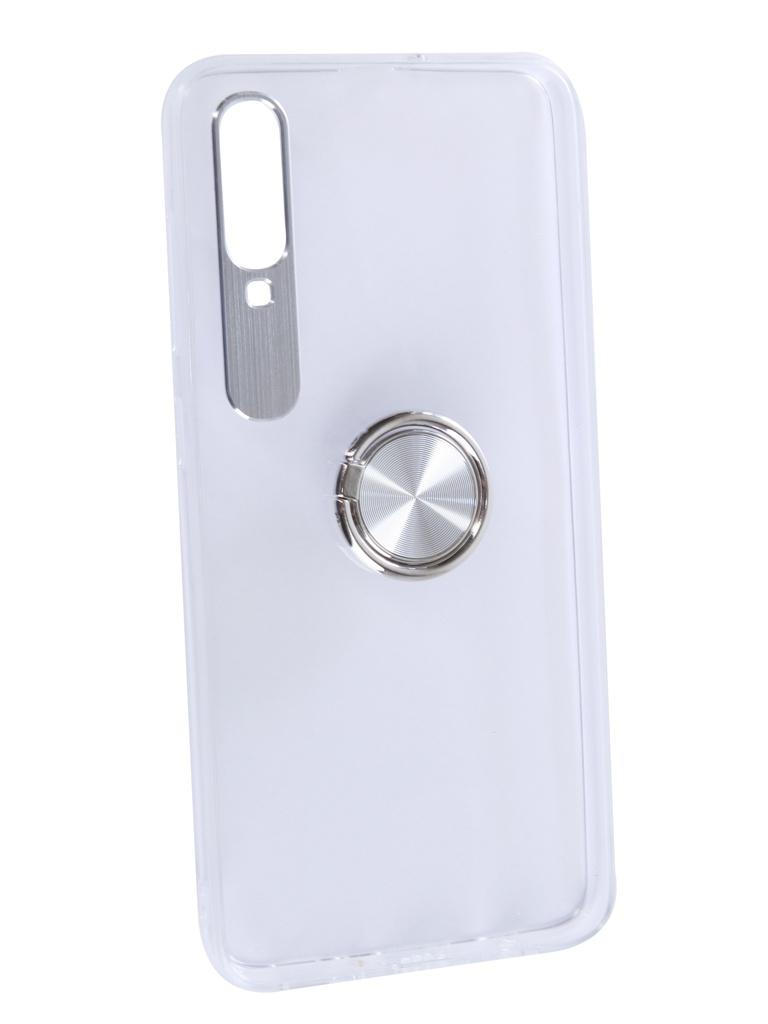 Чехол DF для Samsung Galaxy A70 Plastic + Silicone с кольцом-держателем Silver sTRing-05