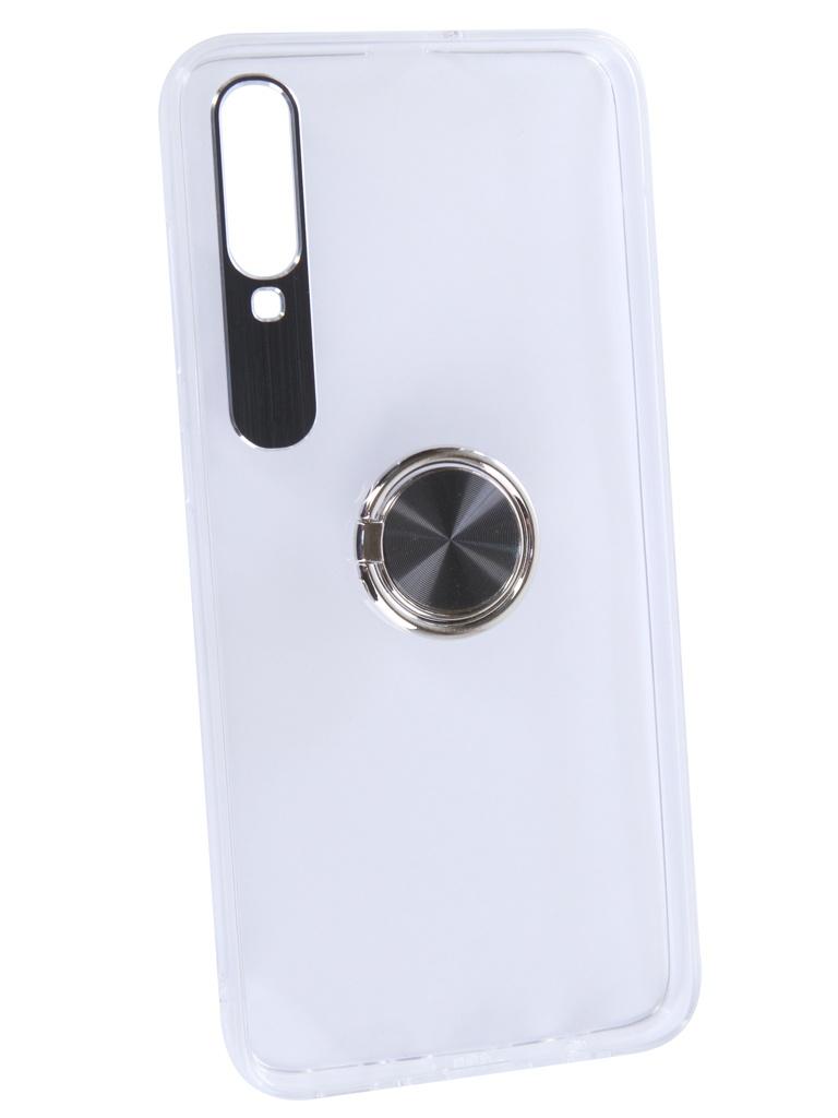 Чехол DF для Samsung Galaxy A70 Plastic + Silicone с кольцом-держателем Black sTRing-05