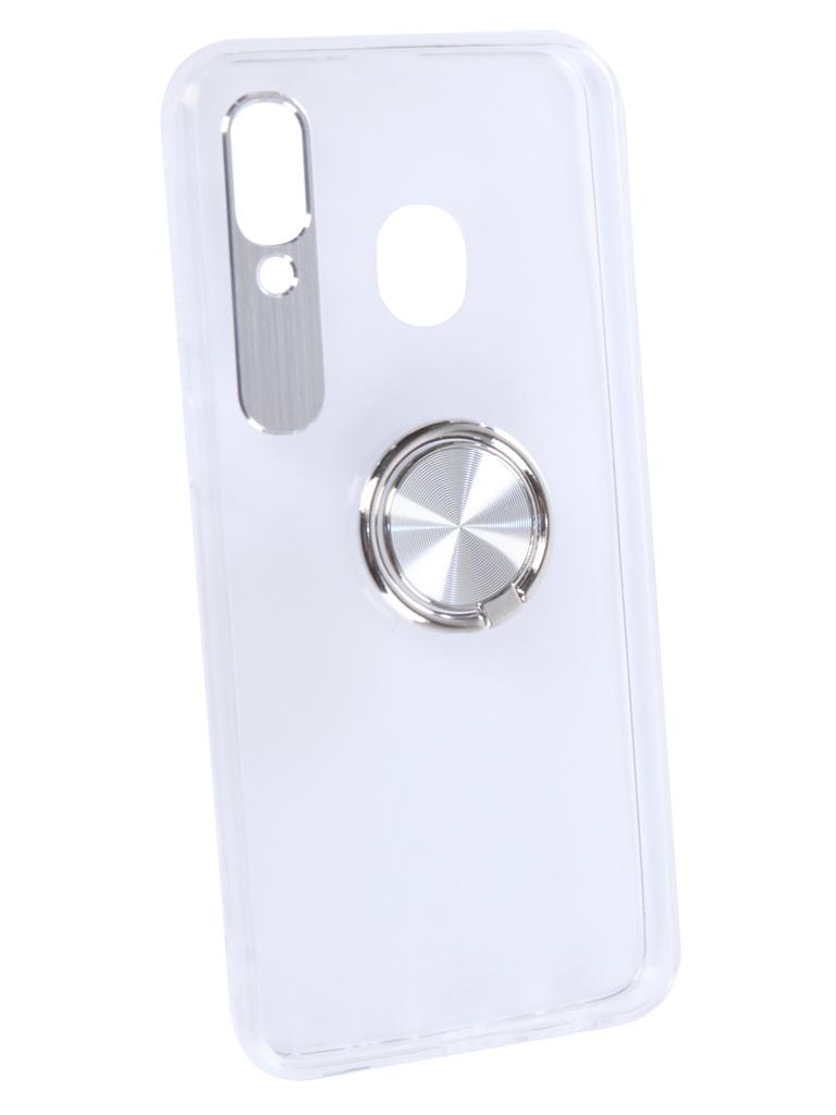 Чехол DF для Samsung Galaxy A40 Plastic + Silicone с кольцом-держателем Silver sTRing-03