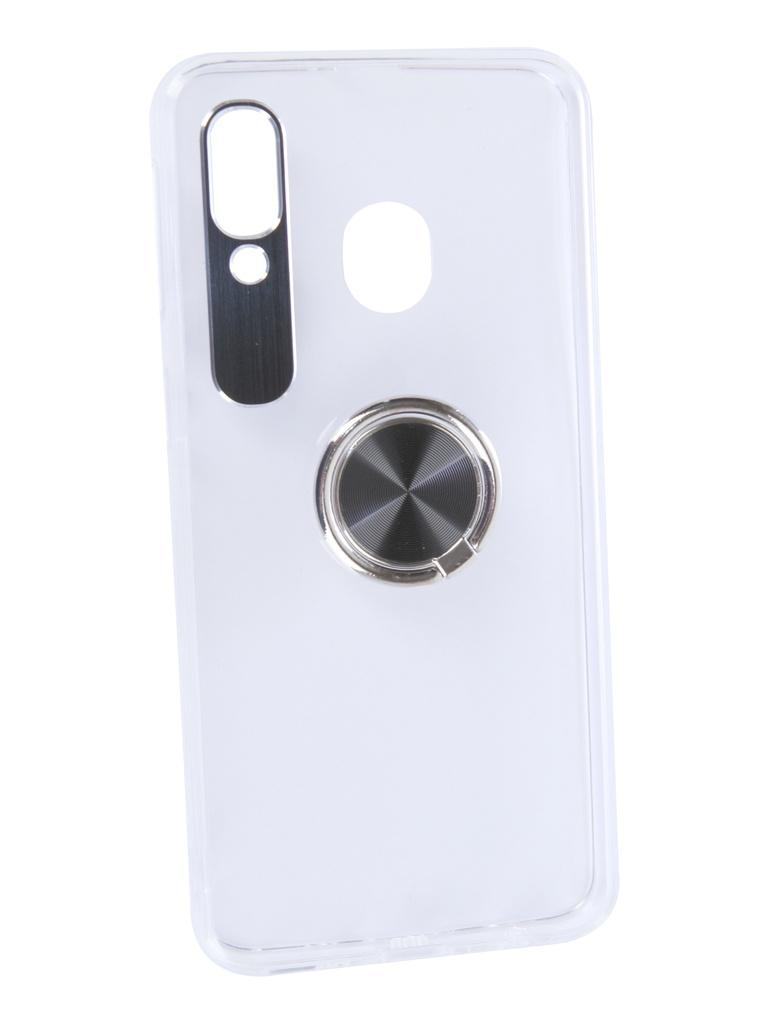 Чехол DF для Samsung Galaxy A40 Plastic + Silicone с кольцом-держателем Black sTRing-03