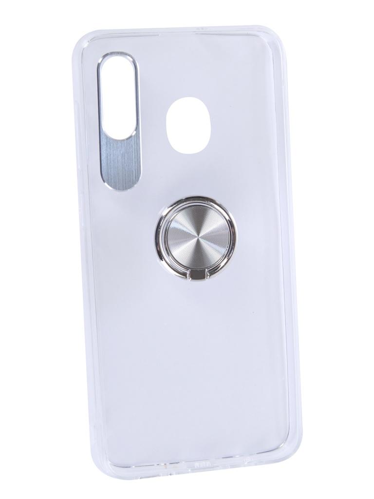Чехол DF для Samsung Galaxy A20/A30 Plastic + Silicone с кольцом-держателем Silver sTRing-02 от DF-GROUP