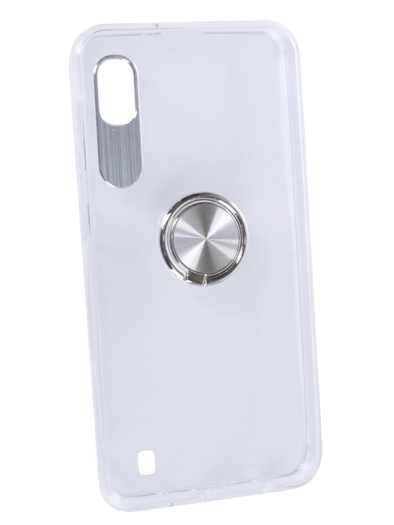 Аксессуар Чехол DF для Samsung Galaxy A10 Plastic + Silicone с кольцом-держателем Silver sTRing-01 жилет silver string silver string si021ewbipi5