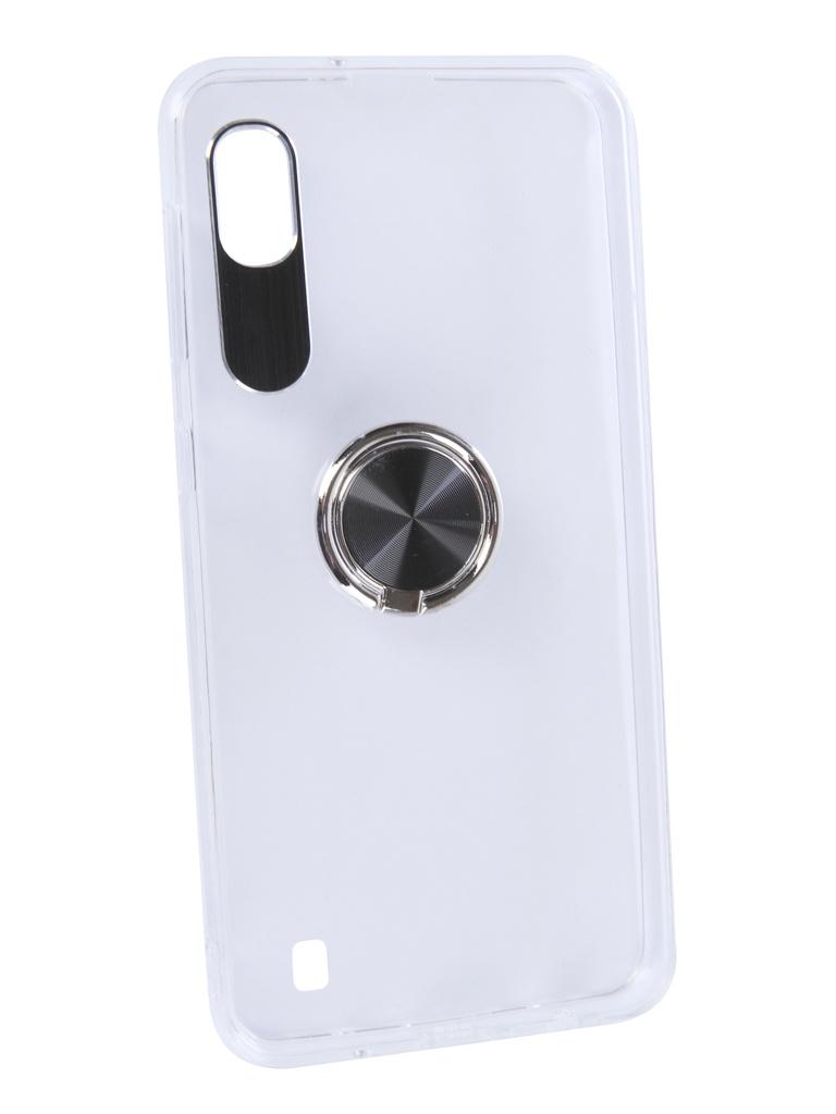 Аксессуар Чехол DF для Samsung Galaxy A10 Plastic + Silicone с кольцом-держателем Black sTRing-01