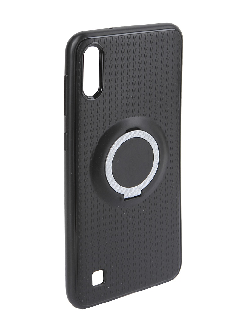Аксессуар Чехол DF для Samsung Galaxy A10 Silicone с кольцом-держателем Black sBlackRing-01