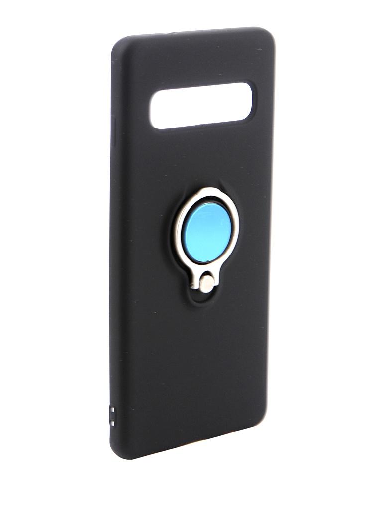 Аксессуар Чехол DF для Samsung Galaxy S10 Silicone с кольцом-держателем Black sRing-01