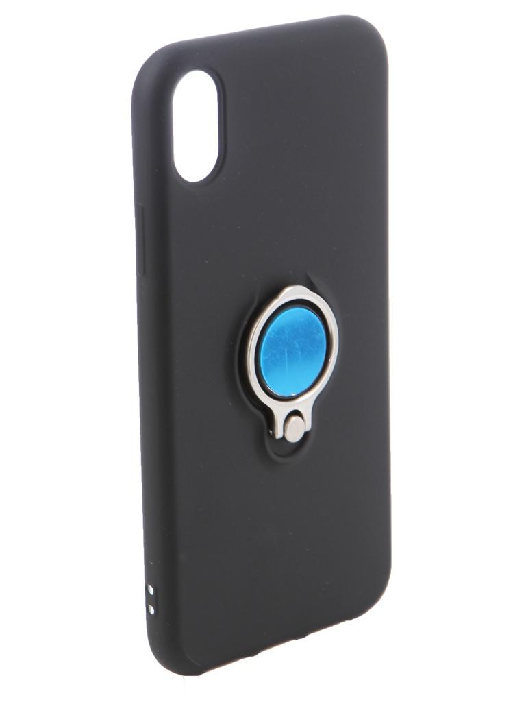 Чехол DF для APPLE iPhone XR Silicone с кольцом-держателем Black iRing-02