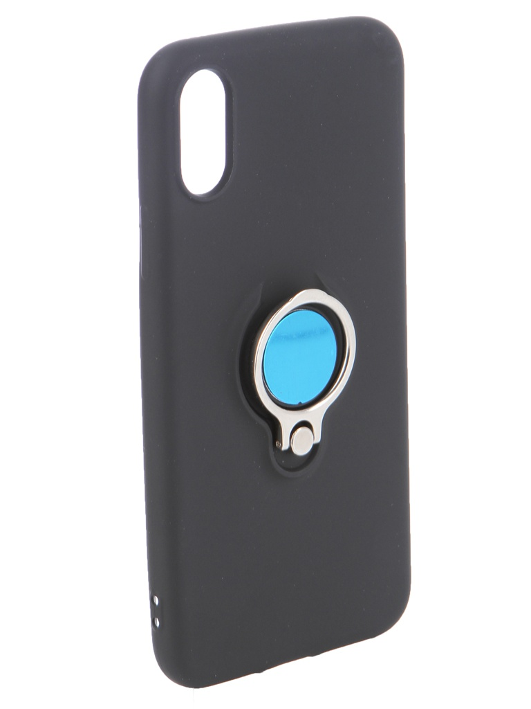 Аксессуар Чехол DF для APPLE iPhone X/XS Silicone с кольцом-держателем Black iRing-01