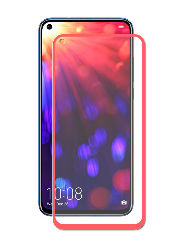 Аксессуар Защитное стекло LuxCase для Honor View 20 2.5D FG Red Frame 78033