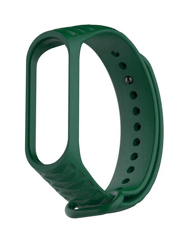 Aксессуар Ремешок Activ for Xiaomi Mi Band 4 / 3 Silicone Рельеф Dark Green 90376