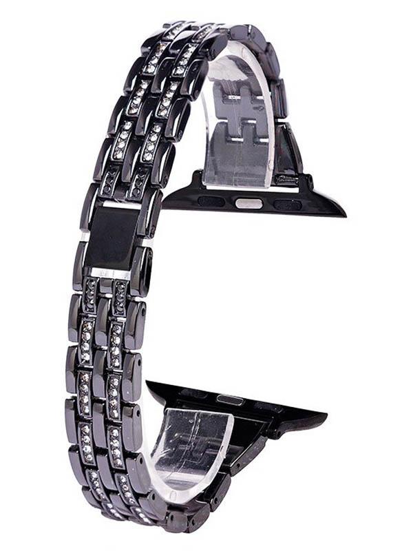 Аксессуар Ремешок Activ Metal со стразами для Apple Watch 42/44mm Black 98953