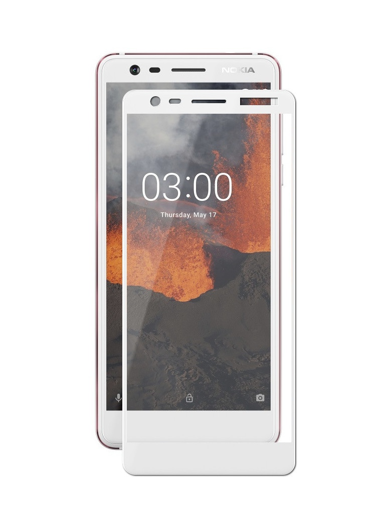 Защитный экран Red Line для Nokia 3.1 Full Screen Tempered Glass White УТ000017840