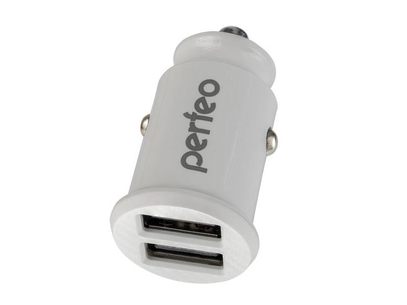 Зарядное устройство Perfeo Car 2xUSB 2.4А White PF_A4459