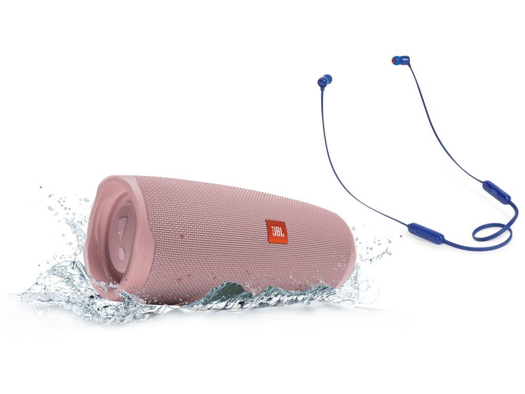 лучшая цена Колонка JBL Charge 4 Pink + наушники T110BT Blue