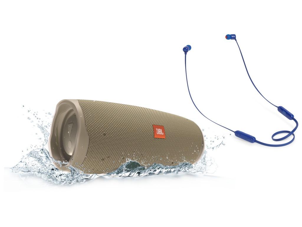 Колонка JBL Charge 4 Sand + наушники T110BT Blue