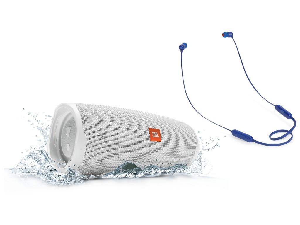 Колонка JBL Charge 4 White + наушники T110BT Blue