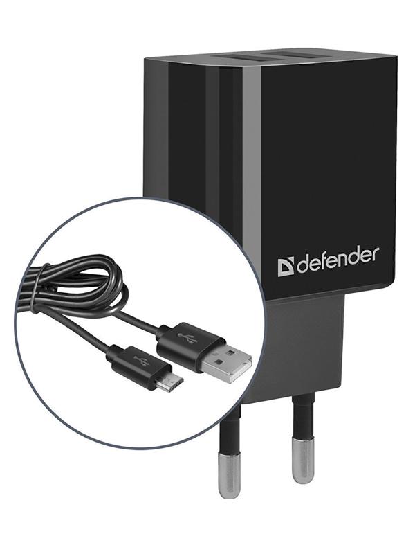 Зарядное устройство Defender UPC-21 2xUSB + кабель microUSB 83581