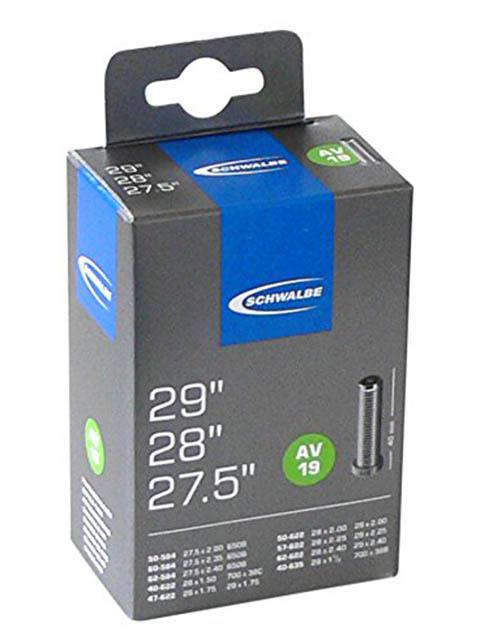 Велокамера Schwalbe AV19 40/62-584/635.27.5\29-1.5-2.4 40mm 10430340 запчасть schwalbe ice spiker pro evo 65 584 27 5x2 6
