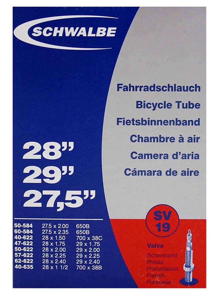 Велокамера Schwalbe SV19 40/62-584/635.27.5\29-1.5-2.4 40mm 10430343 запчасть schwalbe ice spiker pro evo 65 584 27 5x2 6