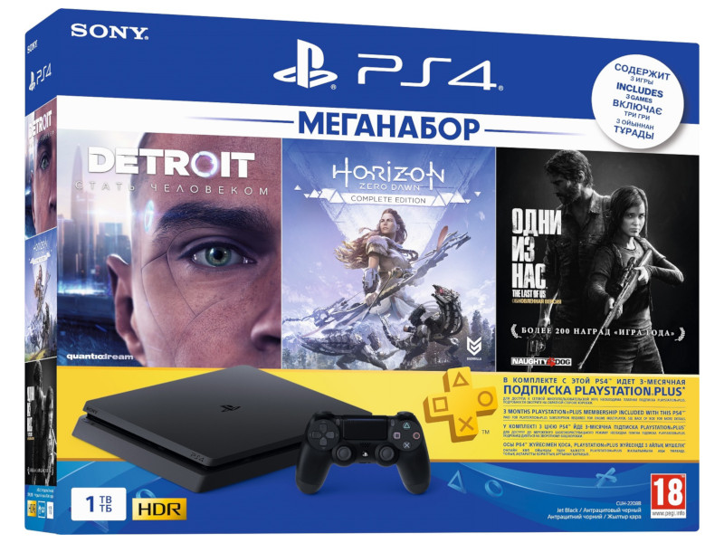 Игровая приставка Sony PlayStation 4 1 ТБ + HZD + Detroit + TLoUS + PS 3 месяца playstation 3 invisibleshield