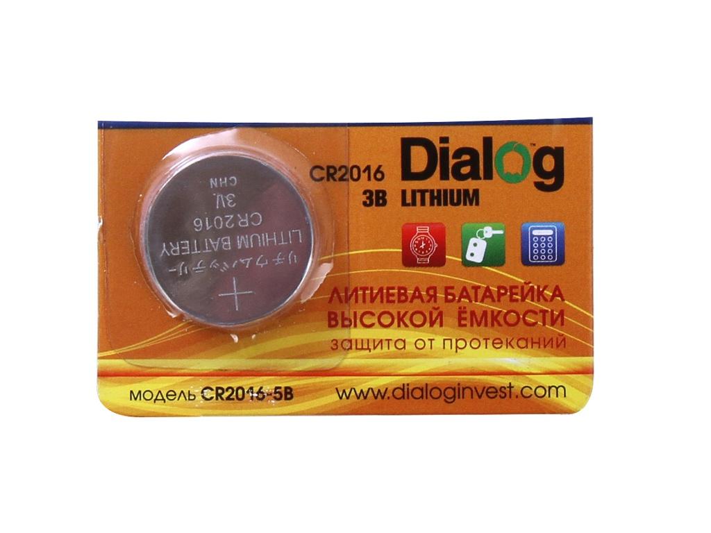 Батарейка CR2016 - Dialog CR2016 5V (1 штука) батарейка космос koc20165bl cr cr2016 5хbl блист 5шт