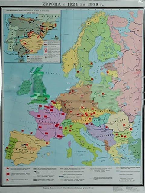 Карта односторонняя Глобусный мир Западная Европа в 1924-1939 г.г. 20090 западная европа и культурная экспансия американизма