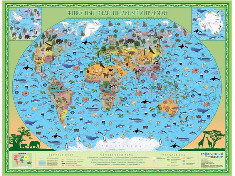 Карта Глобусный мир Животный и растительный Земли 20218