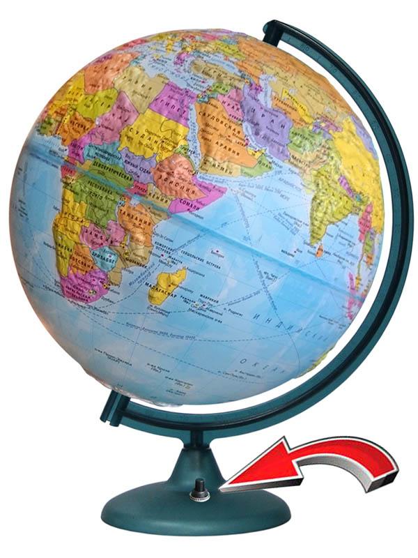 Глобус Глобусный мир политический 320mm рельефный с подстветкой и батарейкой 16027