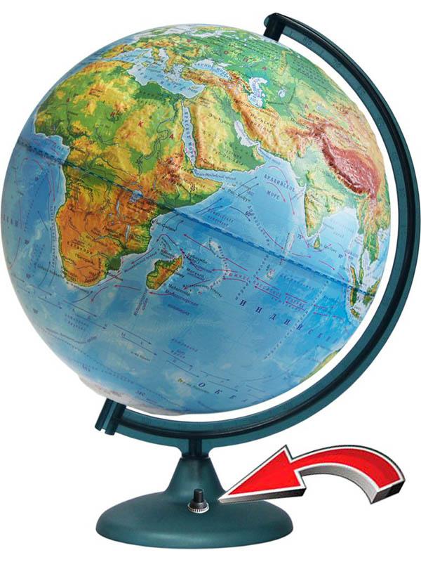 Глобус Глобусный мир Физический 320mm рельефный с подстветкой и батарейкой 16021