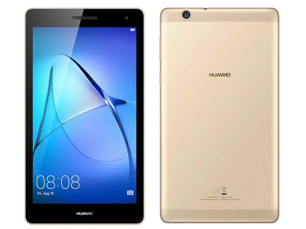 Планшет Huawei MediaPad T3 7 8Gb BG2-U01 Gold (Spreadtrum SC7731G 1.3 GHz/1024Mb/8Gb/3G/Wi-Fi/Bluetooth/7/1024x600/Android) new slim cover transparent pc back case for huawei mediapad t3 7 3g bg2 u01 tablet case t3 3g 7 0 screen protection stylus