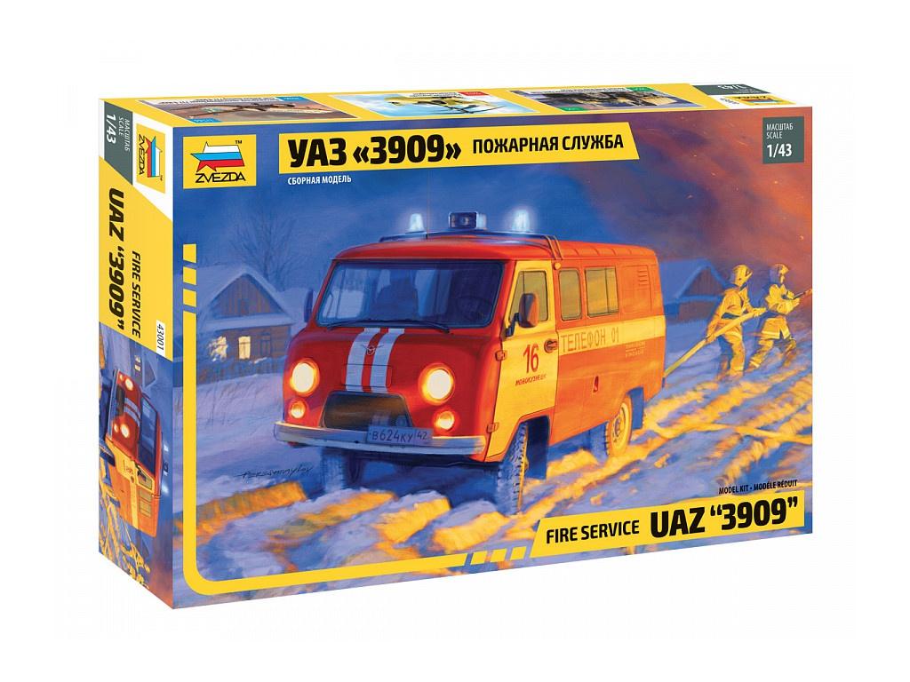 Сборная модель Zvezda УАЗ 3909 Пожарная служба 43001