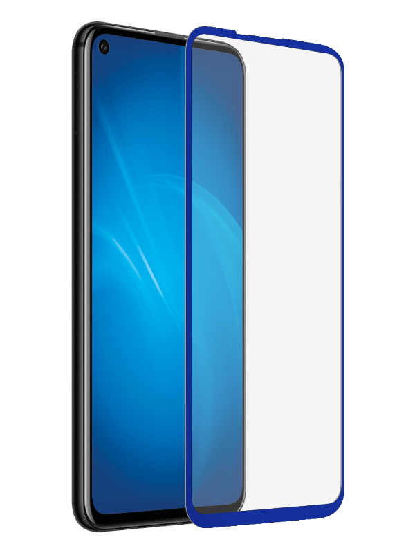 Аксессуар Закаленное стекло DF для Huawei Honor 20 Full Screen + Full Glue hwColor-105 Blue Frame аксессуар закаленное стекло huawei honor 6x df fullscreen hwcolor 06 gold