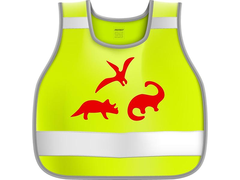 Жилет сигнальный детский Protect Динозавры р.26-30 рост 98-116 Yellow 333-225
