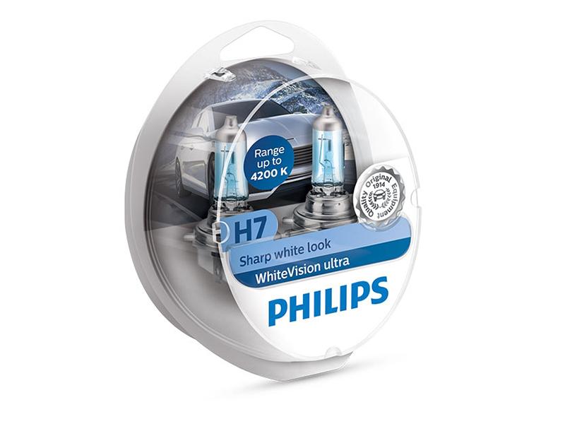 Лампа Philips White Vision Ultra H7 12V 55W PX26d 12972WVUSM (2 штука)