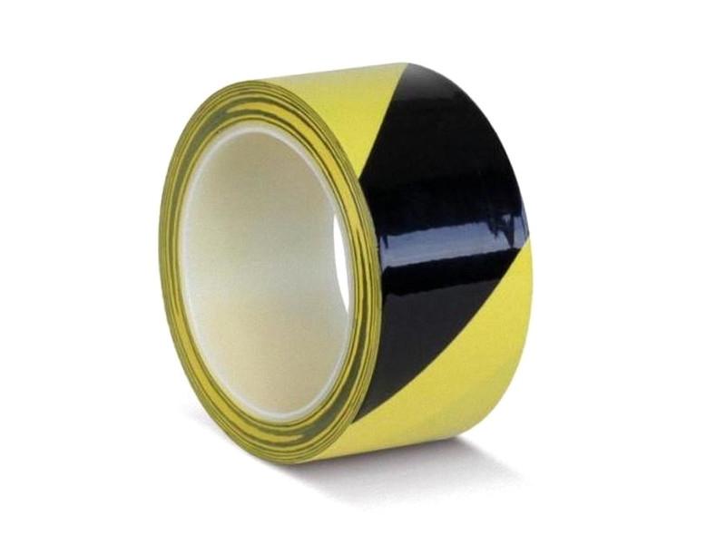 Лента ПВХ ОПП Мельхозе 50mm x 33m Yellow-Black КМLW05033