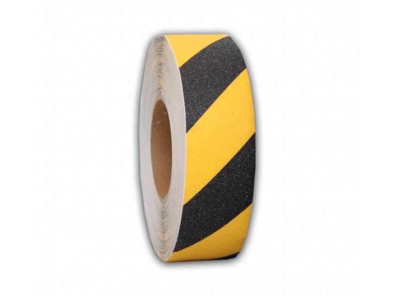 Лента предупреждающая об опасности, антискользящая Мельхозе Basic 50mm x 18.3m Black-Yellow MAWR050183