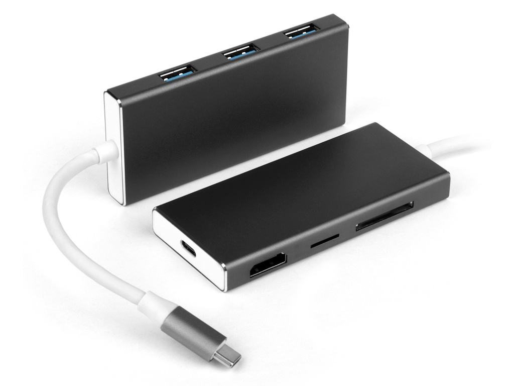 Хаб USB iQFuture Hub 7 in 1 Type-C / USB 3.0 / USB-C / HDMI / Micro/SD IQ-C801 хаб usb activ type c wiwu t4 5 in 1 grey 84742
