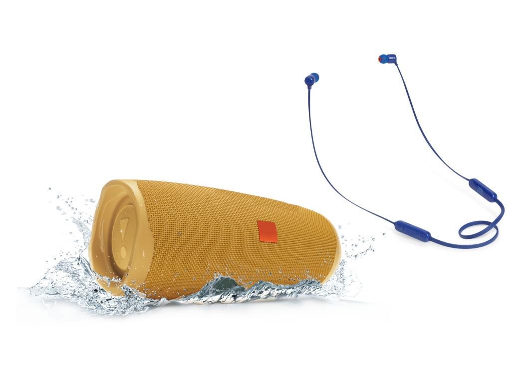 Колонка JBL Charge 4 Yellow + наушники T110BT Blue