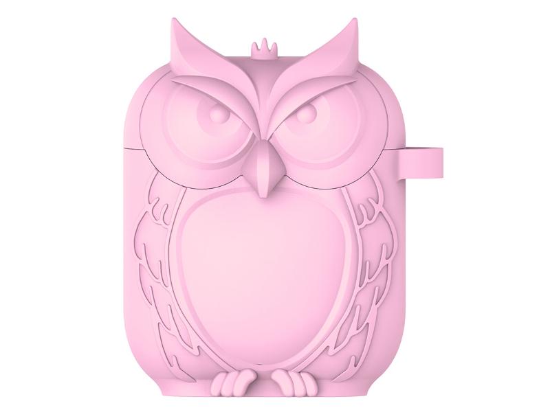 Аксессуар Чехол Krutoff для AirPods Сова Silicone Pink 10869