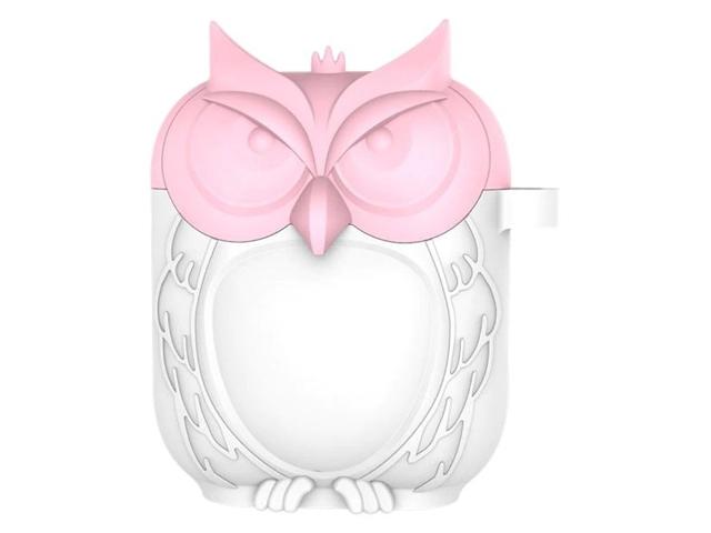 Аксессуар Чехол Krutoff для AirPods Сова Silicone White-Pink 10870