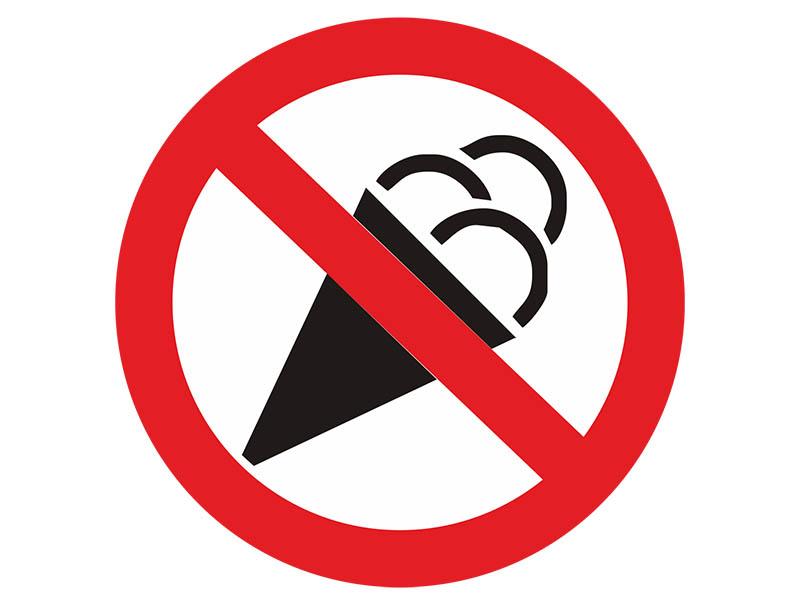 Наклейка Mashinokom С мороженным запрещено 10x10cm VRO006