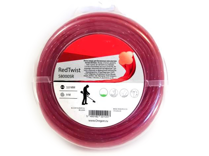 Леска для триммера Oregon Red Twisted Line 3.0mm x 9m 580005R