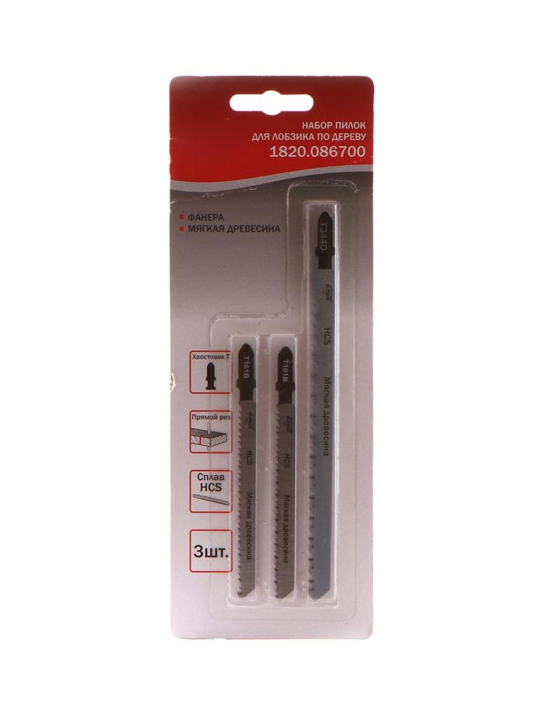 Пилка Elitech Набор 3шт для мягкой древесины/фанеры 1820.086700