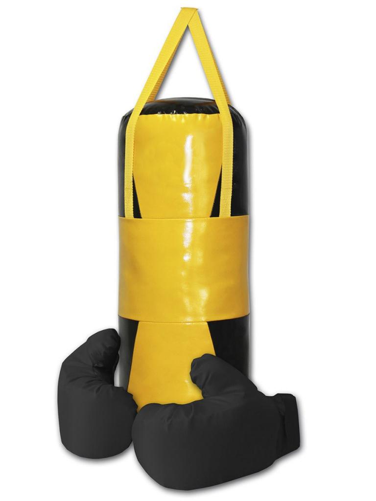 Набор для бокса Belon Песочные часы груша с перчатками Black-Yellow НБ-001-ПЧ