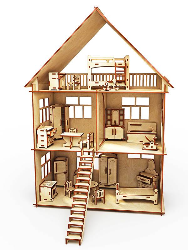Сборная модель ХэппиДом Коттедж с мебелью HK-D002