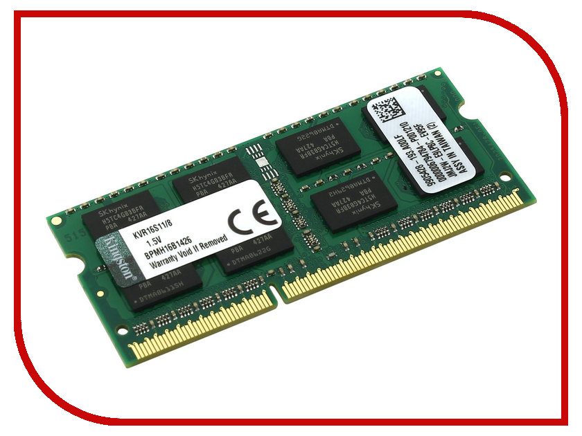 Модуль памяти Kingston DDR3 SO-DIMM 1600MHz PC3-12800 - 8Gb KVR16S11/8 модуль памяти hp 16gb 2rx4 pc3 12800r 11 kit 672631 b21