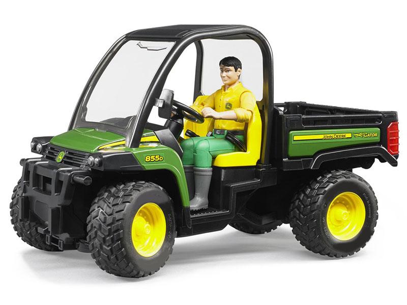 Игрушка Bruder John Deere Gator XUV 855D c фигуркой водителя (02-490) bruder трактор john deere 5115m с прицепом
