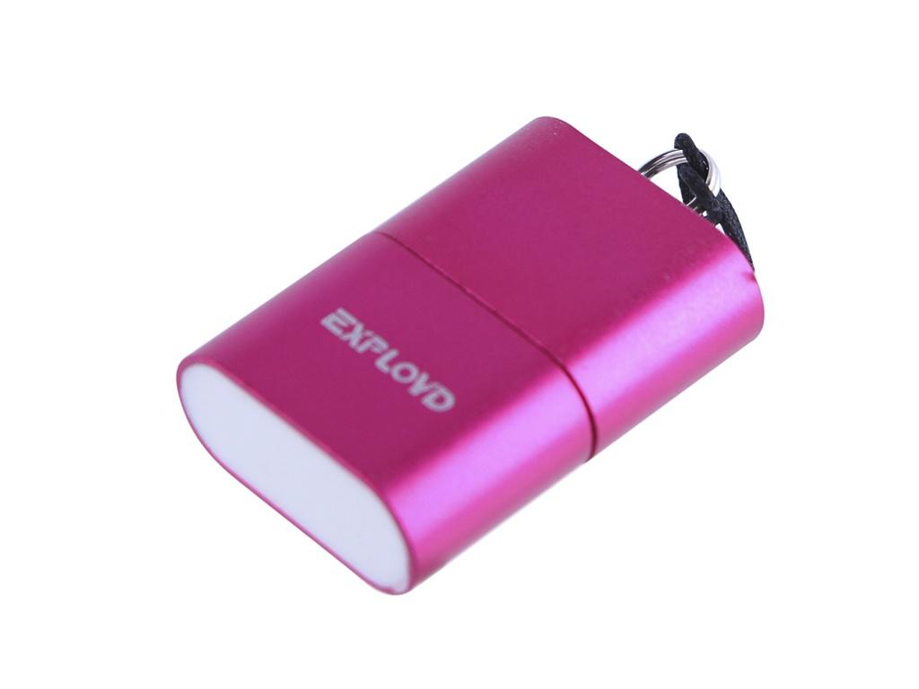 Кардридер Exployd MicroSD - USB 2.0 Pink EX-AD-267