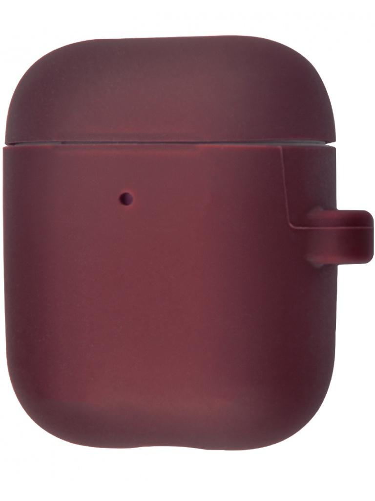 Чехол Krutoff для AirPods 2 Hang Case с карабином Burgundy 10889