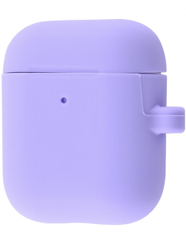 Аксессуар Чехол Krutoff для AirPods 2 Hang Case с карабином Purple 10885